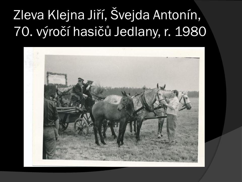 Zleva Klejna Jiří, Švejda Antonín, 70. výročí hasičů Jedlany, r. 1980