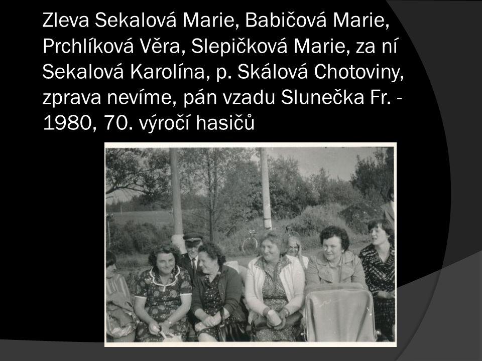 Zleva Sekalová Marie, Babičová Marie, Prchlíková Věra, Slepičková Marie, za ní Sekalová Karolína, p. Skálová Chotoviny, zprava nevíme, pán vzadu Slune