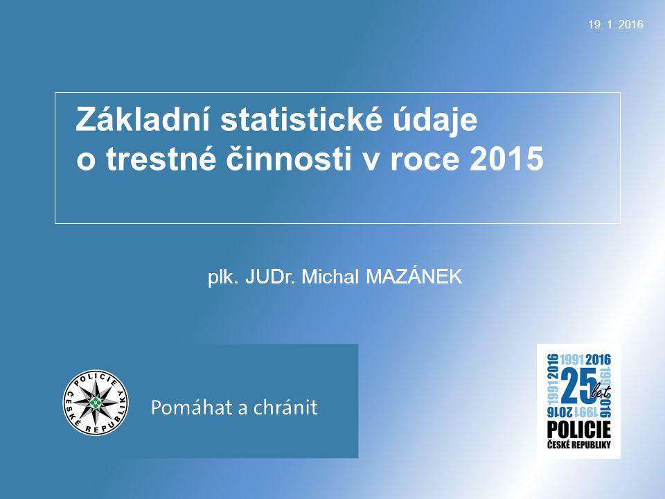Základní statistické údaje o trestné činnosti v roce 2015 plk. JUDr. Michal MAZÁNEK 19. 1. 2016