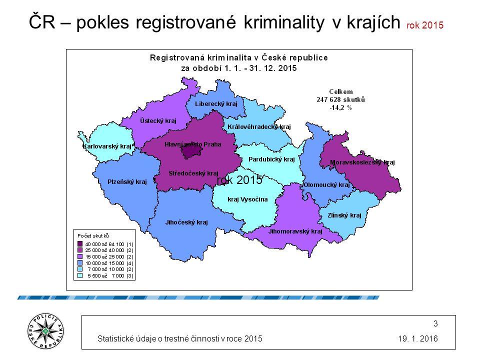 ČR – pokles registrované kriminality v krajích rok 2015 19.