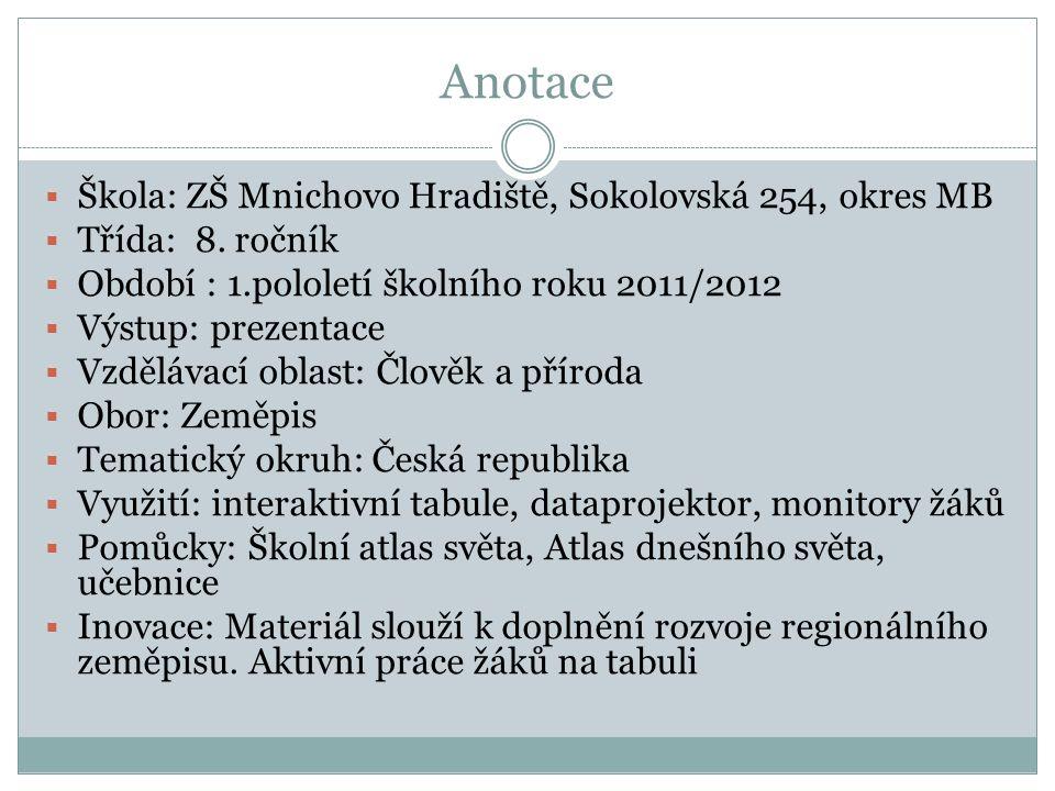 Anotace  Škola: ZŠ Mnichovo Hradiště, Sokolovská 254, okres MB  Třída: 8. ročník  Období : 1.pololetí školního roku 2011/2012  Výstup: prezentace