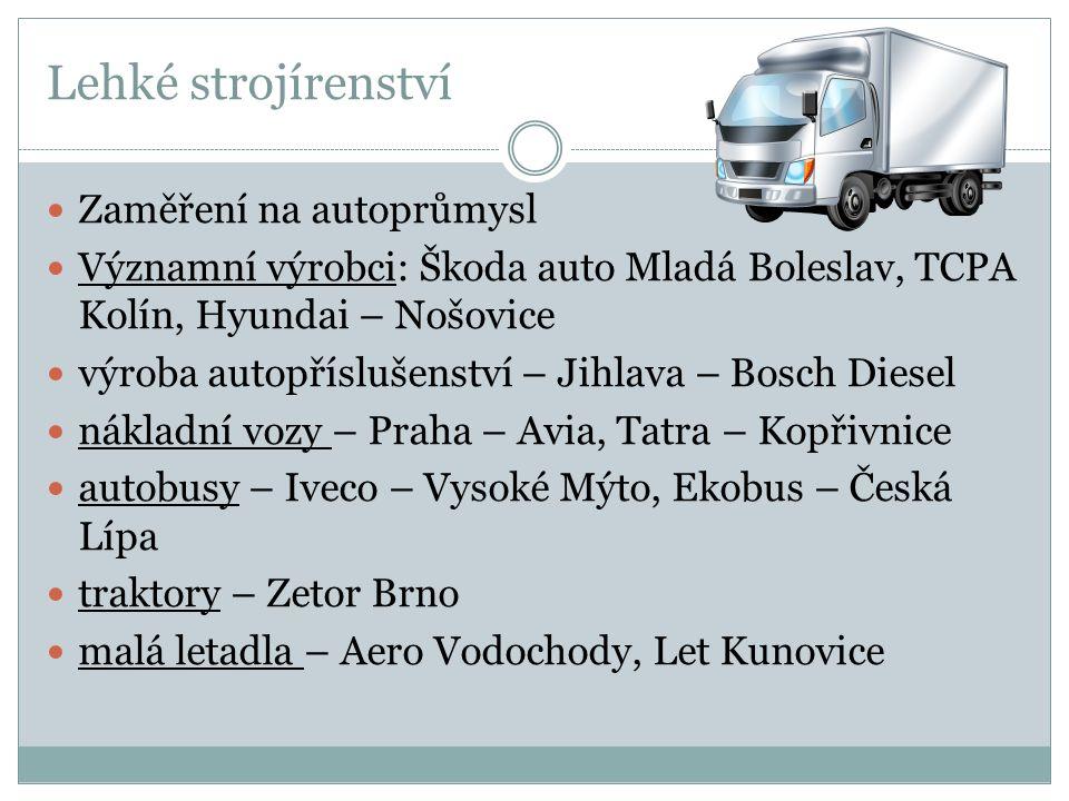 Lehké strojírenství Zaměření na autoprůmysl Významní výrobci: Škoda auto Mladá Boleslav, TCPA Kolín, Hyundai – Nošovice výroba autopříslušenství – Jih