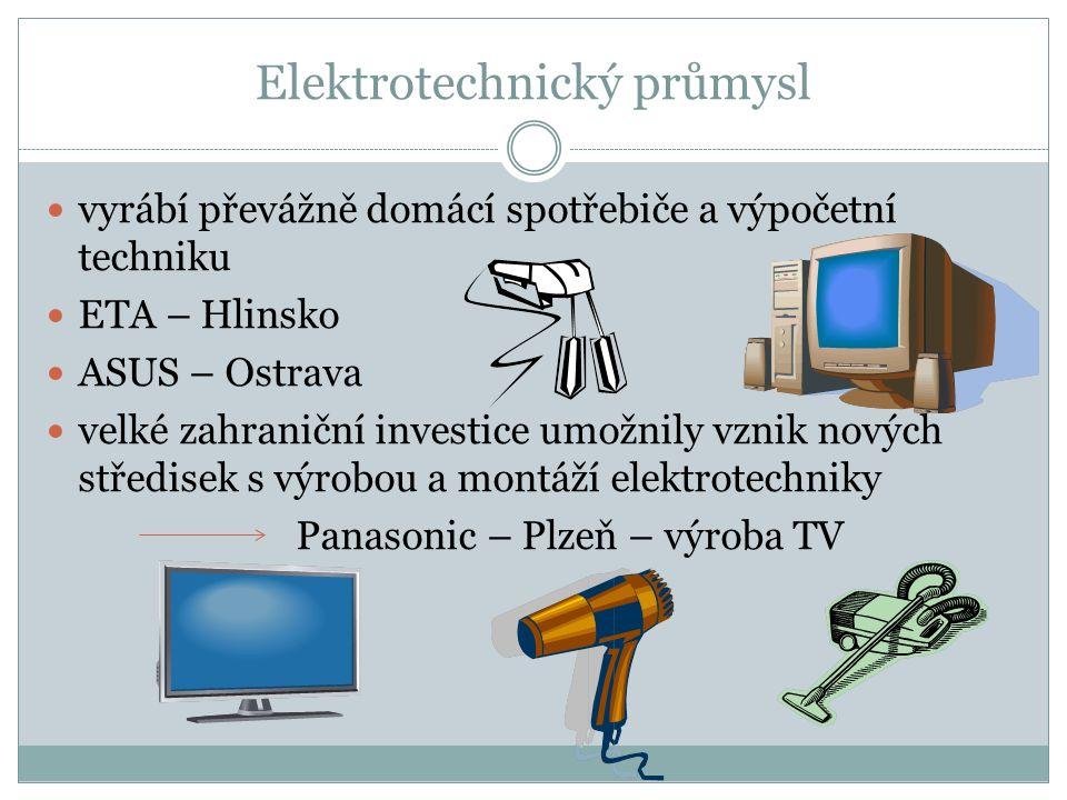 Elektrotechnický průmysl vyrábí převážně domácí spotřebiče a výpočetní techniku ETA – Hlinsko ASUS – Ostrava velké zahraniční investice umožnily vznik