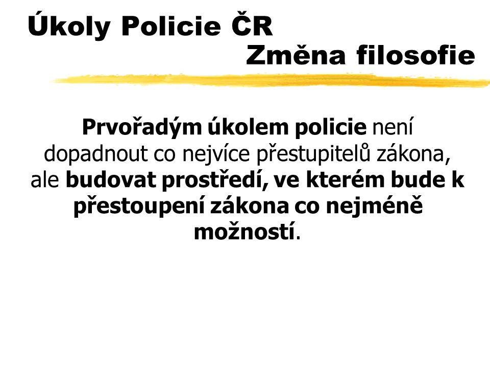 Úkoly Policie ČR Prvořadým úkolem policie není dopadnout co nejvíce přestupitelů zákona, ale budovat prostředí, ve kterém bude k přestoupení zákona co nejméně možností.