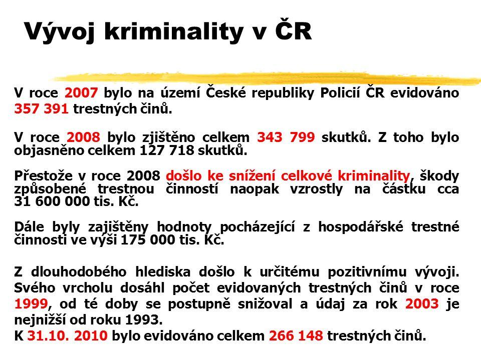 Vývoj kriminality v ČR V roce 2007 bylo na území České republiky Policií ČR evidováno 357 391 trestných činů.