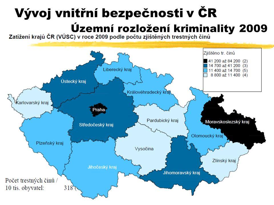 Vývoj vnitřní bezpečnosti v ČR Územní rozložení kriminality 2009