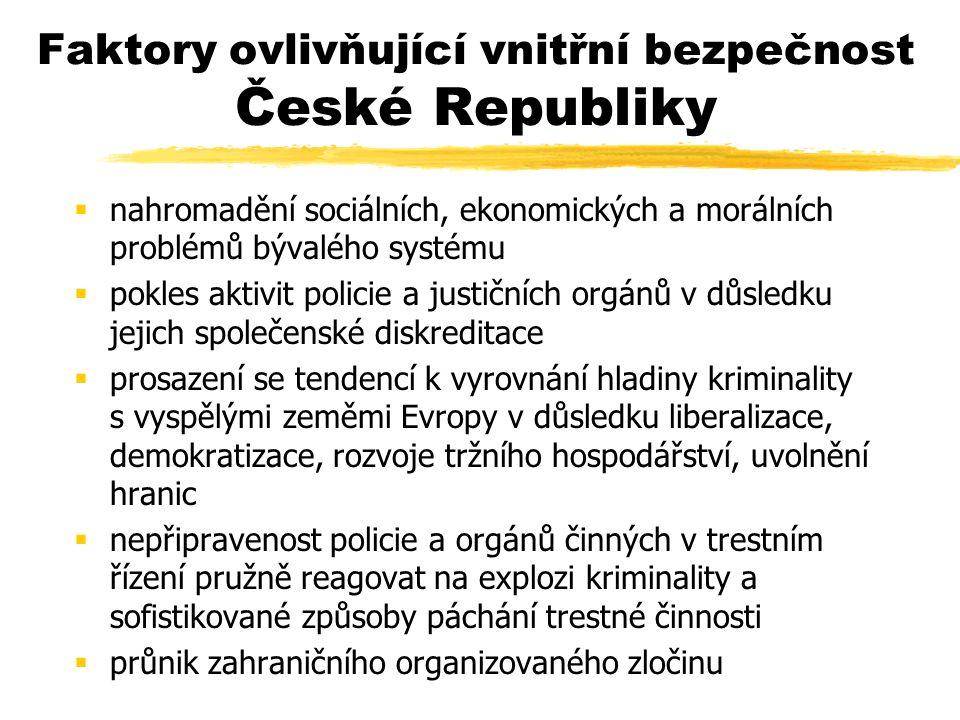 Faktory ovlivňující vnitřní bezpečnost České Republiky  nahromadění sociálních, ekonomických a morálních problémů bývalého systému  pokles aktivit policie a justičních orgánů v důsledku jejich společenské diskreditace  prosazení se tendencí k vyrovnání hladiny kriminality s vyspělými zeměmi Evropy v důsledku liberalizace, demokratizace, rozvoje tržního hospodářství, uvolnění hranic  nepřipravenost policie a orgánů činných v trestním řízení pružně reagovat na explozi kriminality a sofistikované způsoby páchání trestné činnosti  průnik zahraničního organizovaného zločinu