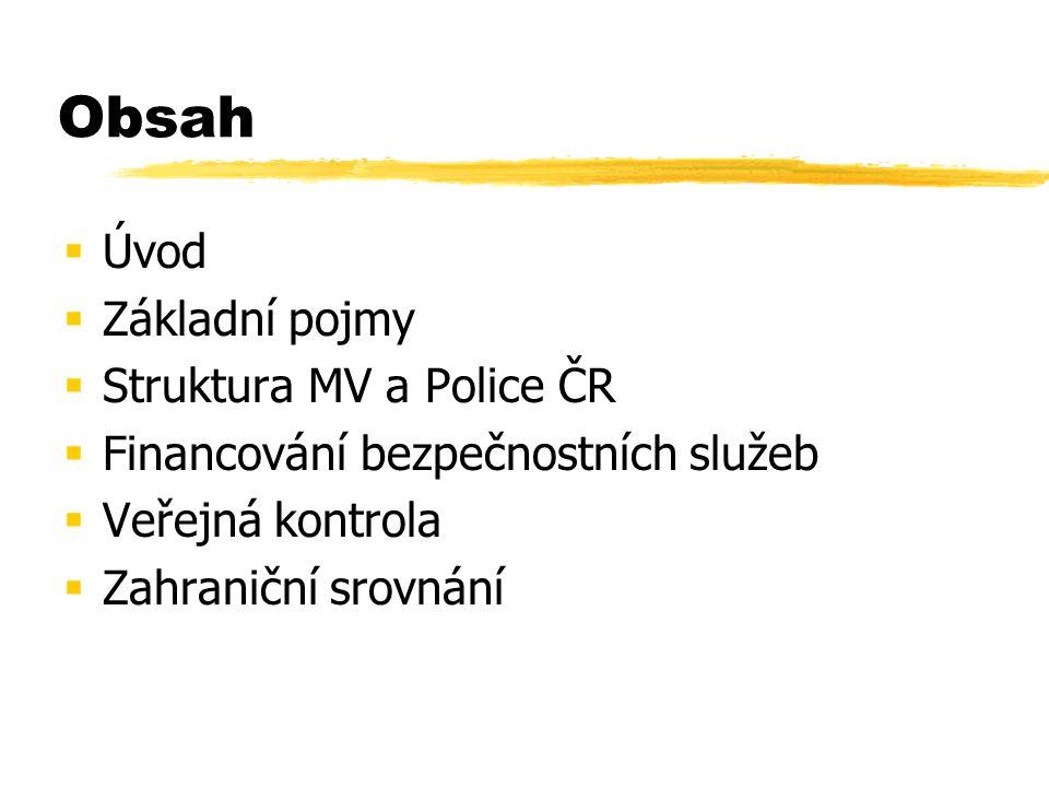 Obsah  Úvod  Základní pojmy  Struktura MV a Police ČR  Financování bezpečnostních služeb  Veřejná kontrola  Zahraniční srovnání