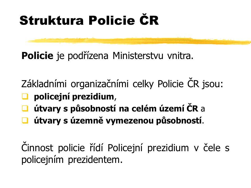 Struktura Policie ČR Policie je podřízena Ministerstvu vnitra.
