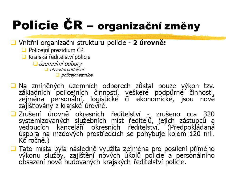 Policie ČR – organizační změny  Vnitřní organizační strukturu policie - 2 úrovně:  Policejní prezidium ČR  Krajská ředitelství policie  územními odbory  obvodní oddělení  policejní stanice  Na zmíněných územních odborech zůstal pouze výkon tzv.
