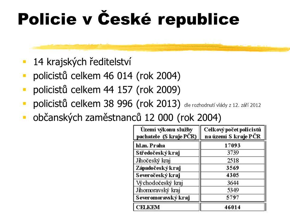  14 krajských ředitelství  policistů celkem 46 014 (rok 2004)  policistů celkem 44 157 (rok 2009)  policistů celkem 38 996 (rok 2013) dle rozhodnutí vlády z 12.