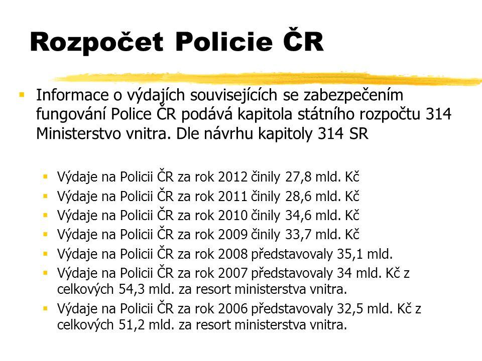  Informace o výdajích souvisejících se zabezpečením fungování Police ČR podává kapitola státního rozpočtu 314 Ministerstvo vnitra.