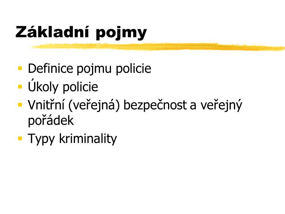 Základní pojmy  Definice pojmu policie  Úkoly policie  Vnitřní (veřejná) bezpečnost a veřejný pořádek  Typy kriminality