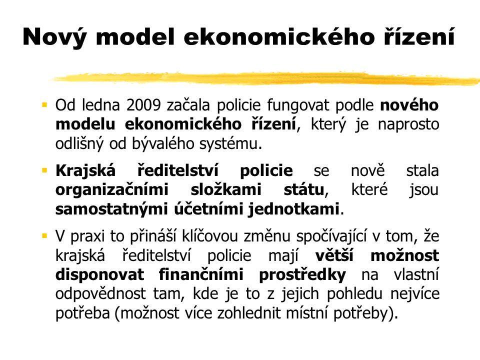 Nový model ekonomického řízení  Od ledna 2009 začala policie fungovat podle nového modelu ekonomického řízení, který je naprosto odlišný od bývalého systému.
