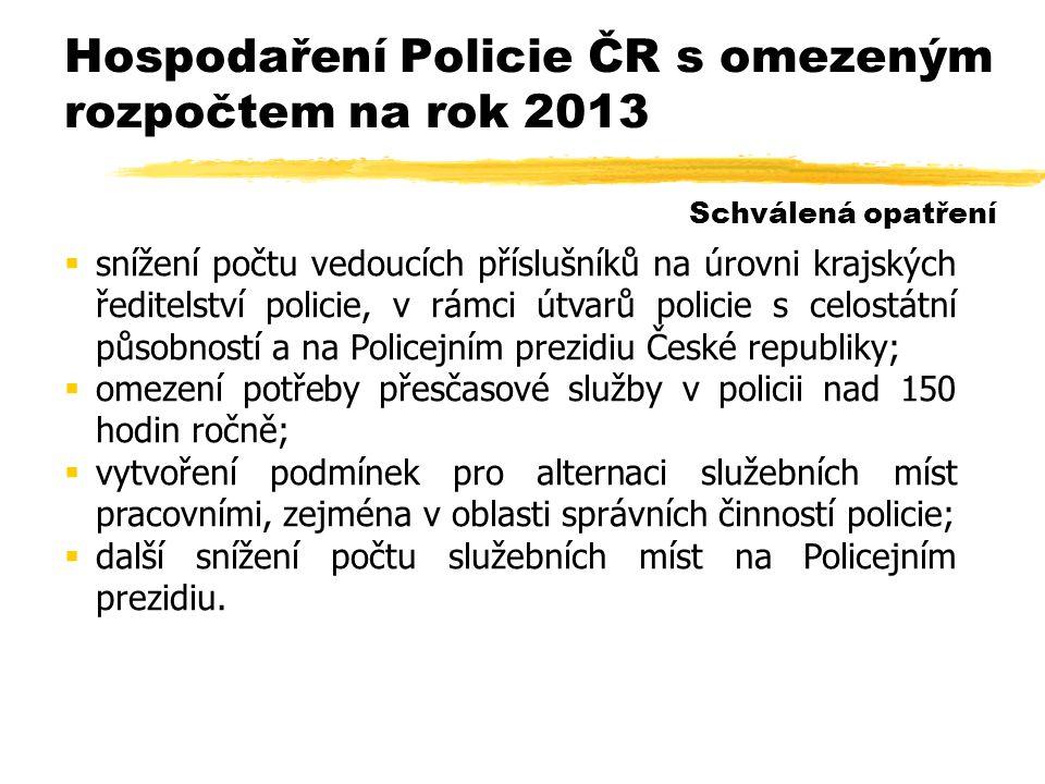 Hospodaření Policie ČR s omezeným rozpočtem na rok 2013  snížení počtu vedoucích příslušníků na úrovni krajských ředitelství policie, v rámci útvarů policie s celostátní působností a na Policejním prezidiu České republiky;  omezení potřeby přesčasové služby v policii nad 150 hodin ročně;  vytvoření podmínek pro alternaci služebních míst pracovními, zejména v oblasti správních činností policie;  další snížení počtu služebních míst na Policejním prezidiu.