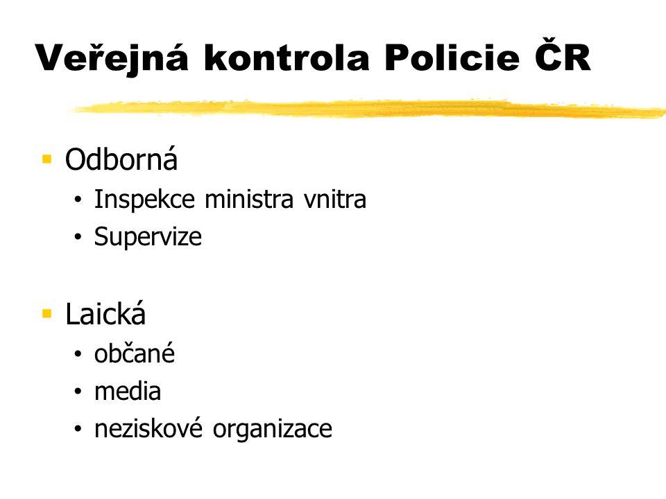 Veřejná kontrola Policie ČR  Odborná Inspekce ministra vnitra Supervize  Laická občané media neziskové organizace