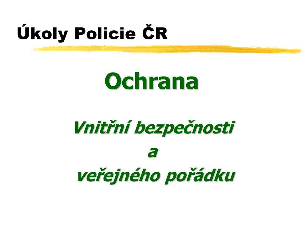 Úkoly Policie ČR Ochrana Vnitřní bezpečnosti a veřejného pořádku veřejného pořádku