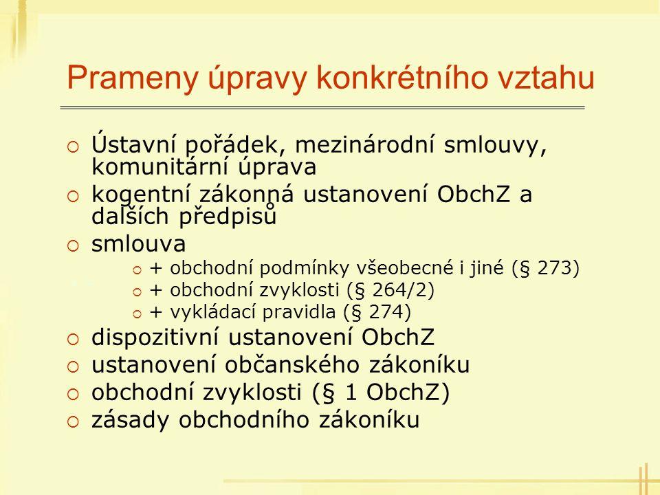 Prameny úpravy konkrétního vztahu  Ústavní pořádek, mezinárodní smlouvy, komunitární úprava  kogentní zákonná ustanovení ObchZ a dalších předpisů 