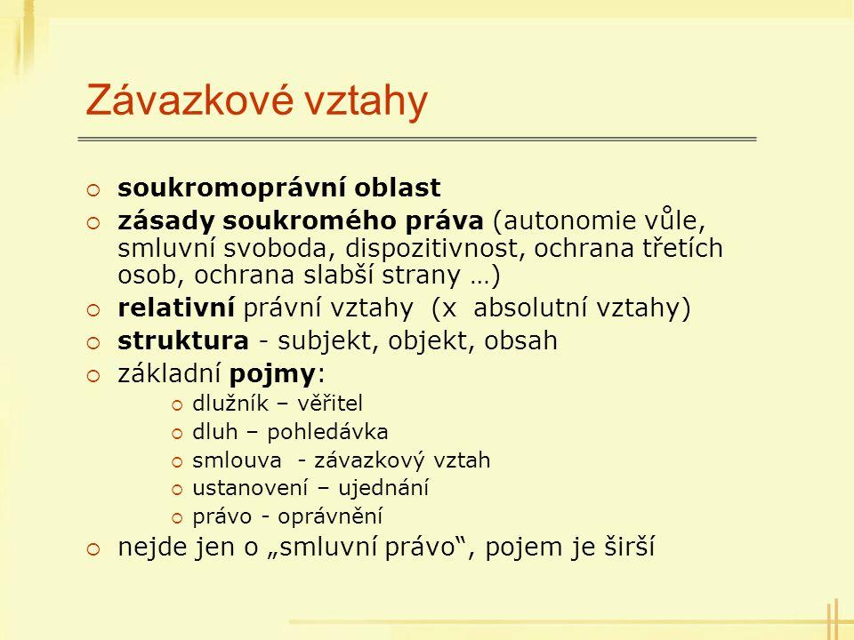 """Právní úprava v ČR  dezintegrace, Občanský i obchodní zákoník, další zákony  nutnost řešit režim vztahu  systém: 1) obecná část – vznik, výklad, změna, zajištění, zánik, odpovědnost, promlčení; určení režimu vztahu … - § 261 – 408 ObchZ 2) úprava smluvních typů – nejčastější """"modelové vztahy; kupní, o dílo, úvěr, běžný účet … § 409 – 719b ObchZ + také smlouvy inominátní a smíšené (§ 269/2 ObchZ)"""