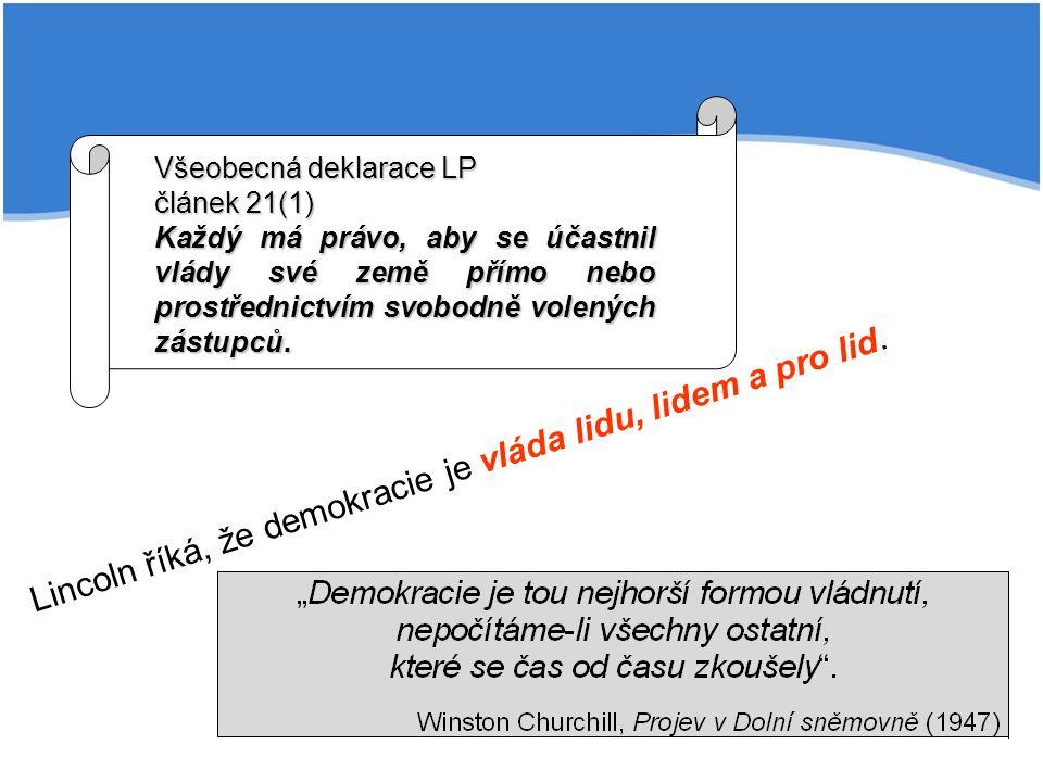 Lincoln říká, že demokracie je vláda lidu, lidem a pro lid.