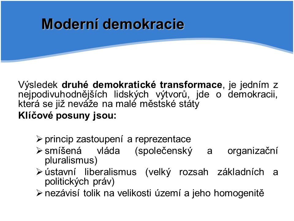 Moderní demokracie Výsledek druhé demokratické transformace, je jedním z nejpodivuhodnějších lidských výtvorů, jde o demokracii, která se již neváže na malé městské státy Klíčové posuny jsou:  princip zastoupení a reprezentace  smíšená vláda (společenský a organizační pluralismus)  ústavní liberalismus (velký rozsah základních a politických práv)  nezávisí tolik na velikosti území a jeho homogenitě