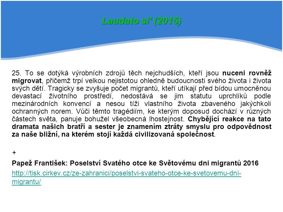 25. To se dotýká výrobních zdrojů těch nejchudších, kteří jsou nuceni rovněž migrovat, přičemž trpí velkou nejistotou ohledně budoucnosti svého života
