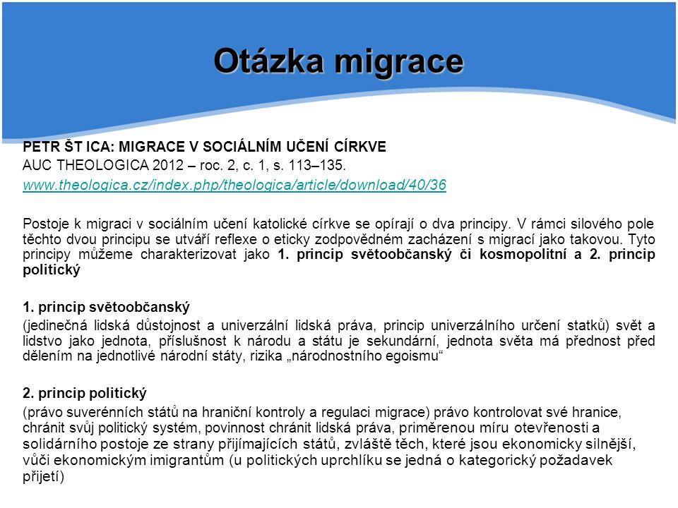 PETR ŠT ICA: MIGRACE V SOCIÁLNÍM UČENÍ CÍRKVE AUC THEOLOGICA 2012 – roc.
