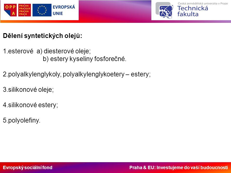 Evropský sociální fond Praha & EU: Investujeme do vaší budoucnosti Dělení syntetických olejů: 1.esterové a) diesterové oleje; b) estery kyseliny fosfo