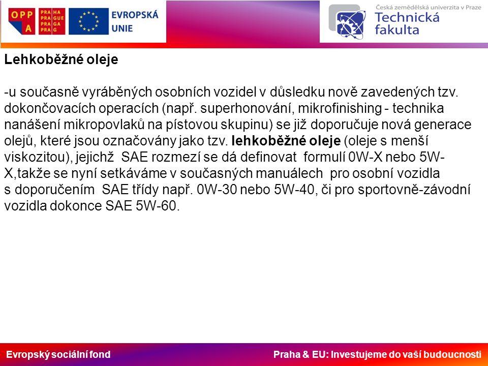 Evropský sociální fond Praha & EU: Investujeme do vaší budoucnosti Lehkoběžné oleje -u současně vyráběných osobních vozidel v důsledku nově zavedených