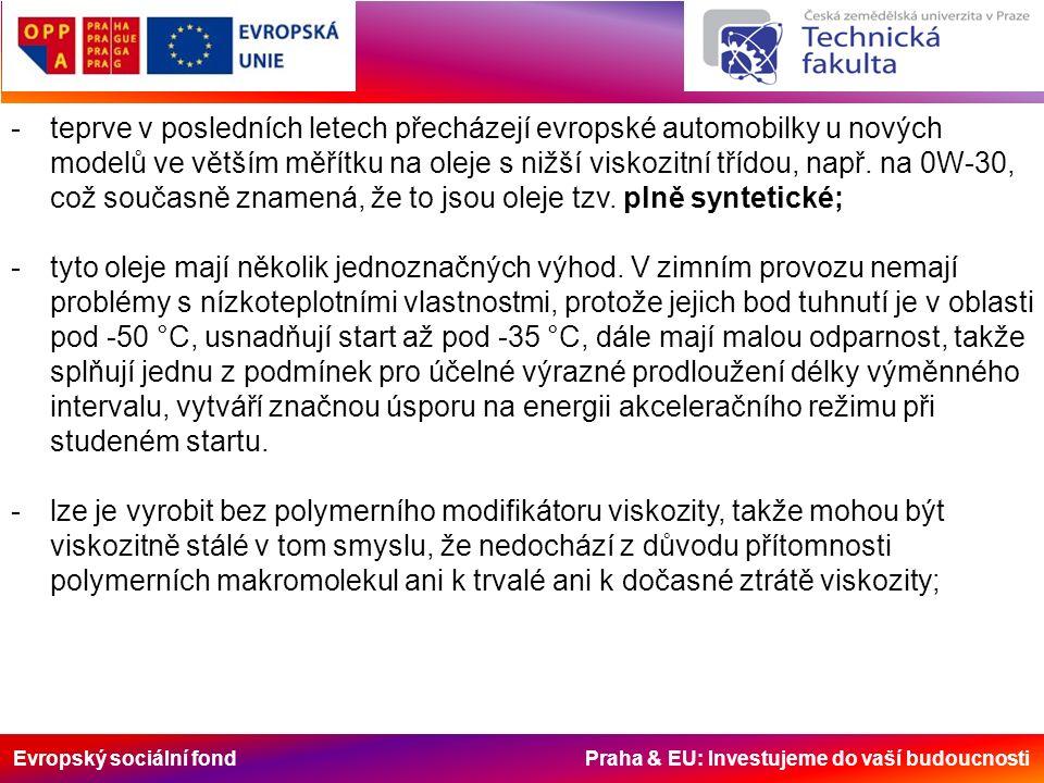Evropský sociální fond Praha & EU: Investujeme do vaší budoucnosti -teprve v posledních letech přecházejí evropské automobilky u nových modelů ve větším měřítku na oleje s nižší viskozitní třídou, např.