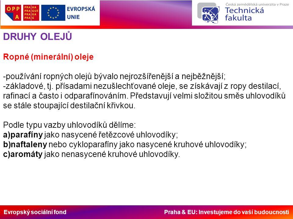 Evropský sociální fond Praha & EU: Investujeme do vaší budoucnosti DRUHY OLEJŮ Ropné (minerální) oleje -používání ropných olejů bývalo nejrozšířenější a nejběžnější; -základové, tj.