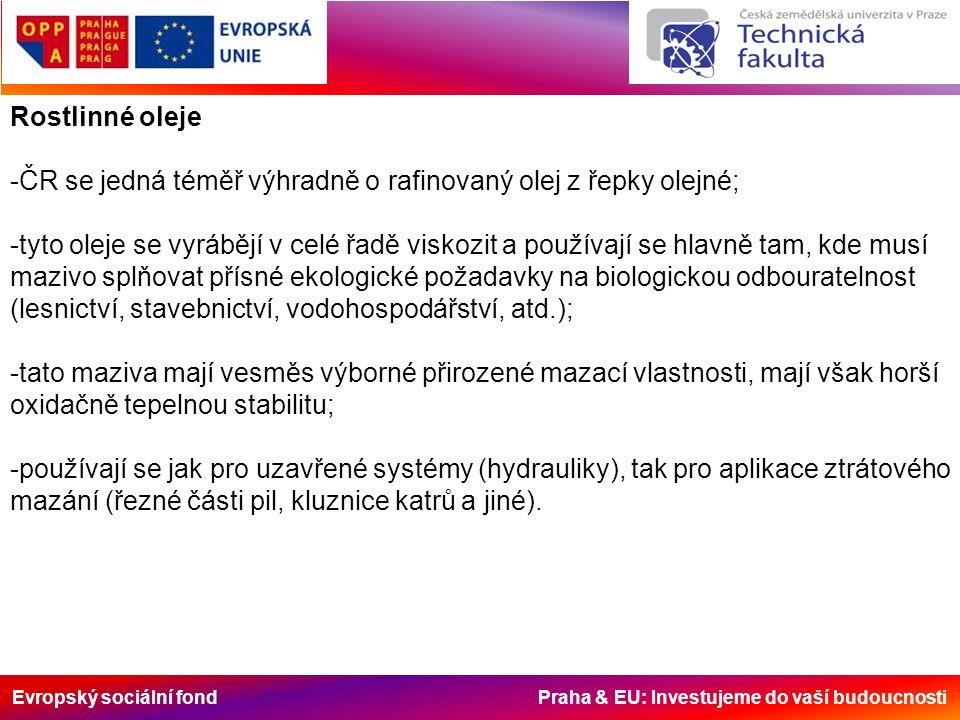 Evropský sociální fond Praha & EU: Investujeme do vaší budoucnosti Rostlinné oleje -ČR se jedná téměř výhradně o rafinovaný olej z řepky olejné; -tyto oleje se vyrábějí v celé řadě viskozit a používají se hlavně tam, kde musí mazivo splňovat přísné ekologické požadavky na biologickou odbouratelnost (lesnictví, stavebnictví, vodohospodářství, atd.); -tato maziva mají vesměs výborné přirozené mazací vlastnosti, mají však horší oxidačně tepelnou stabilitu; -používají se jak pro uzavřené systémy (hydrauliky), tak pro aplikace ztrátového mazání (řezné části pil, kluznice katrů a jiné).