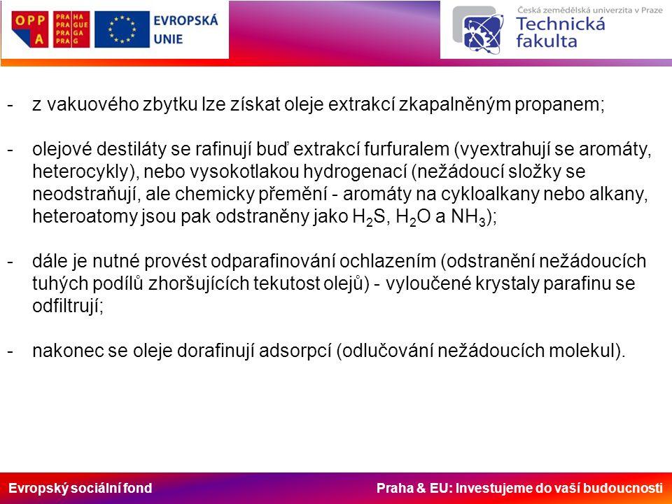 Evropský sociální fond Praha & EU: Investujeme do vaší budoucnosti -z vakuového zbytku lze získat oleje extrakcí zkapalněným propanem; -olejové destiláty se rafinují buď extrakcí furfuralem (vyextrahují se aromáty, heterocykly), nebo vysokotlakou hydrogenací (nežádoucí složky se neodstraňují, ale chemicky přemění - aromáty na cykloalkany nebo alkany, heteroatomy jsou pak odstraněny jako H 2 S, H 2 O a NH 3 ); -dále je nutné provést odparafinování ochlazením (odstranění nežádoucích tuhých podílů zhoršujících tekutost olejů) - vyloučené krystaly parafinu se odfiltrují; -nakonec se oleje dorafinují adsorpcí (odlučování nežádoucích molekul).