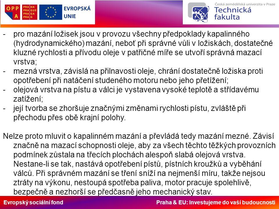 Evropský sociální fond Praha & EU: Investujeme do vaší budoucnosti -pro mazání ložisek jsou v provozu všechny předpoklady kapalinného (hydrodynamického) mazání, neboť při správné vůli v ložiskách, dostatečné kluzné rychlosti a přívodu oleje v patřičné míře se utvoří správná mazací vrstva; -mezná vrstva, závislá na přilnavosti oleje, chrání dostatečně ložiska proti opotřebení při natáčení studeného motoru nebo jeho přetížení; -olejová vrstva na pístu a válci je vystavena vysoké teplotě a střídavému zatížení; -její tvorba se zhoršuje značnými změnami rychlosti pístu, zvláště při přechodu přes obě krajní polohy.