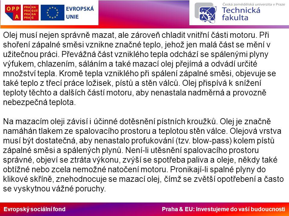 Evropský sociální fond Praha & EU: Investujeme do vaší budoucnosti Olej musí nejen správně mazat, ale zároveň chladit vnitřní části motoru. Při shořen