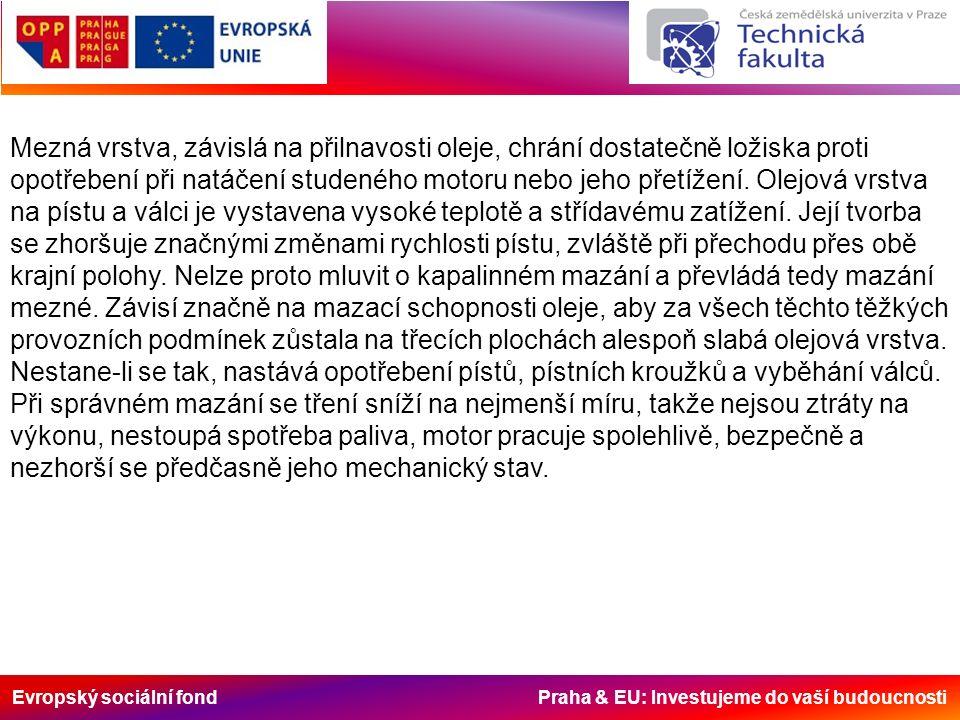 Evropský sociální fond Praha & EU: Investujeme do vaší budoucnosti Mezná vrstva, závislá na přilnavosti oleje, chrání dostatečně ložiska proti opotřebení při natáčení studeného motoru nebo jeho přetížení.
