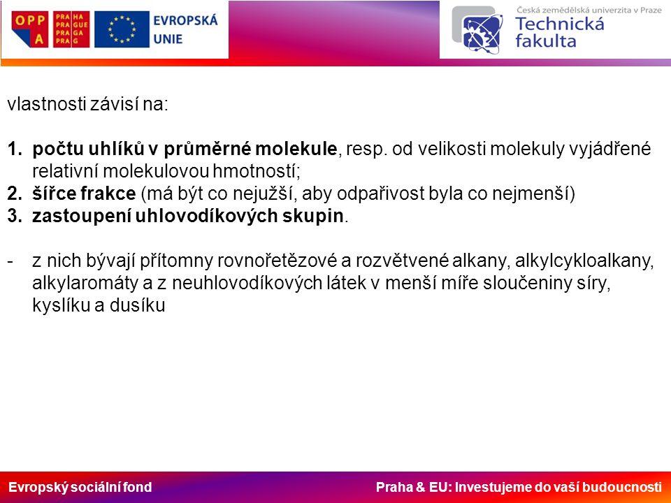Evropský sociální fond Praha & EU: Investujeme do vaší budoucnosti vlastnosti závisí na: 1.počtu uhlíků v průměrné molekule, resp. od velikosti moleku