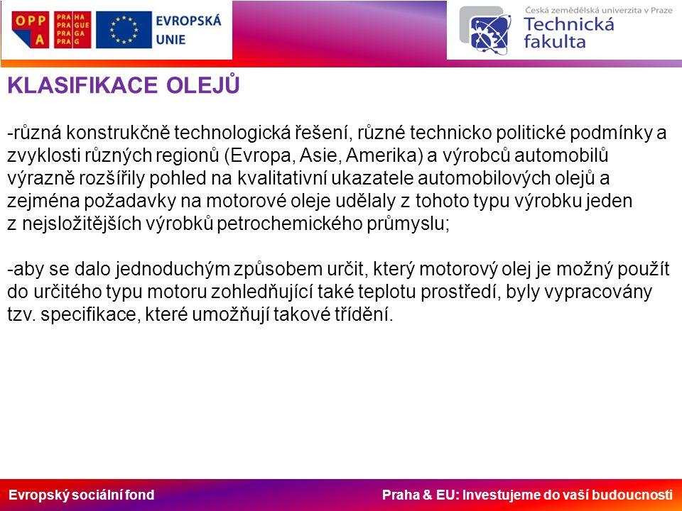Evropský sociální fond Praha & EU: Investujeme do vaší budoucnosti KLASIFIKACE OLEJŮ -různá konstrukčně technologická řešení, různé technicko politické podmínky a zvyklosti různých regionů (Evropa, Asie, Amerika) a výrobců automobilů výrazně rozšířily pohled na kvalitativní ukazatele automobilových olejů a zejména požadavky na motorové oleje udělaly z tohoto typu výrobku jeden z nejsložitějších výrobků petrochemického průmyslu; -aby se dalo jednoduchým způsobem určit, který motorový olej je možný použít do určitého typu motoru zohledňující také teplotu prostředí, byly vypracovány tzv.