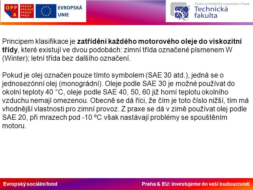 Evropský sociální fond Praha & EU: Investujeme do vaší budoucnosti Principem klasifikace je zatřídění každého motorového oleje do viskozitní třídy, které existují ve dvou podobách: zimní třída označené písmenem W (Winter); letní třída bez dalšího označení.