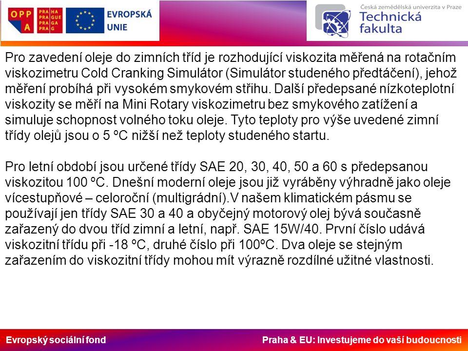 Evropský sociální fond Praha & EU: Investujeme do vaší budoucnosti Pro zavedení oleje do zimních tříd je rozhodující viskozita měřená na rotačním viskozimetru Cold Cranking Simulátor (Simulátor studeného předtáčení), jehož měření probíhá při vysokém smykovém střihu.