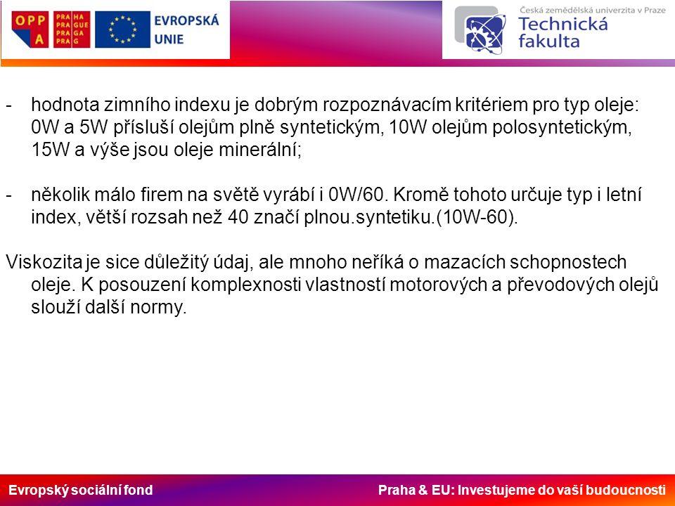 Evropský sociální fond Praha & EU: Investujeme do vaší budoucnosti -hodnota zimního indexu je dobrým rozpoznávacím kritériem pro typ oleje: 0W a 5W přísluší olejům plně syntetickým, 10W olejům polosyntetickým, 15W a výše jsou oleje minerální; -několik málo firem na světě vyrábí i 0W/60.