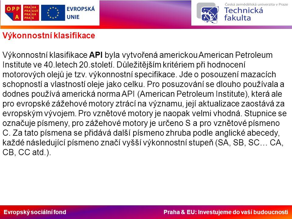 Evropský sociální fond Praha & EU: Investujeme do vaší budoucnosti Výkonnostní klasifikace Výkonnostní klasifikace API byla vytvořená americkou American Petroleum Institute ve 40.letech 20.století.