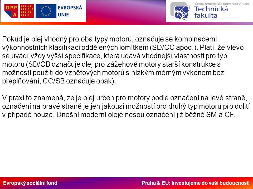Evropský sociální fond Praha & EU: Investujeme do vaší budoucnosti Pokud je olej vhodný pro oba typy motorů, označuje se kombinacemi výkonnostních klasifikací oddělených lomítkem (SD/CC apod.).