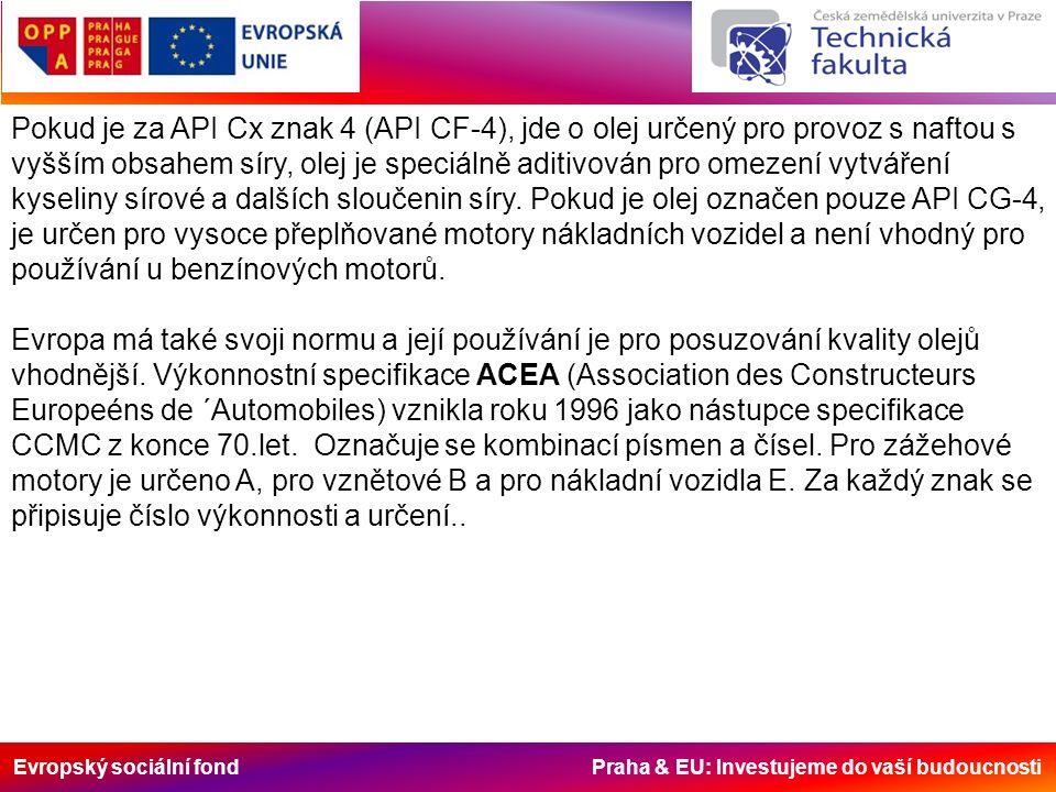 Evropský sociální fond Praha & EU: Investujeme do vaší budoucnosti Pokud je za API Cx znak 4 (API CF-4), jde o olej určený pro provoz s naftou s vyšším obsahem síry, olej je speciálně aditivován pro omezení vytváření kyseliny sírové a dalších sloučenin síry.