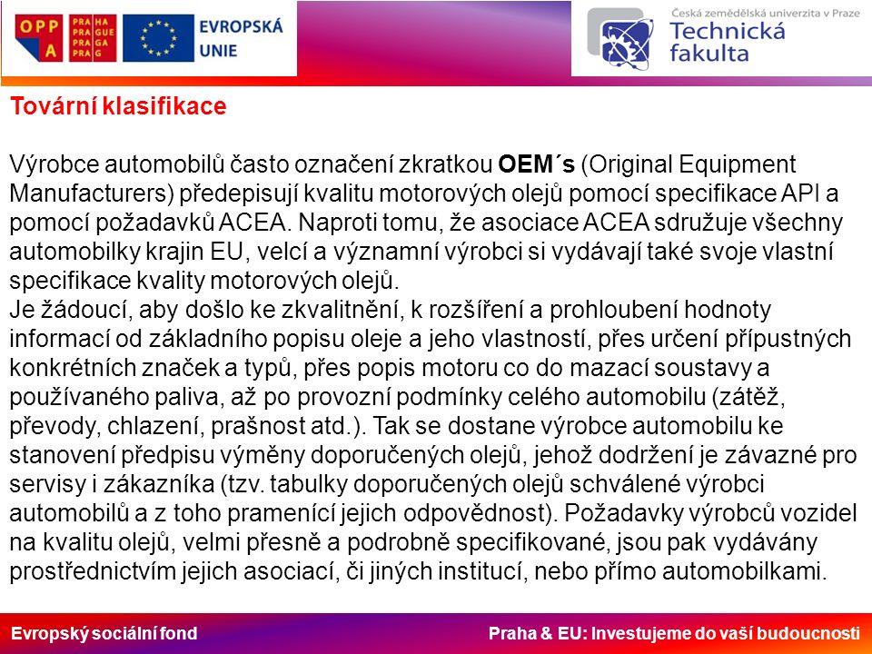 Evropský sociální fond Praha & EU: Investujeme do vaší budoucnosti Tovární klasifikace Výrobce automobilů často označení zkratkou OEM´s (Original Equipment Manufacturers) předepisují kvalitu motorových olejů pomocí specifikace API a pomocí požadavků ACEA.