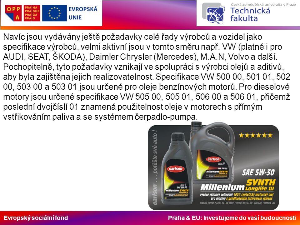 Evropský sociální fond Praha & EU: Investujeme do vaší budoucnosti Navíc jsou vydávány ještě požadavky celé řady výrobců a vozidel jako specifikace výrobců, velmi aktivní jsou v tomto směru např.