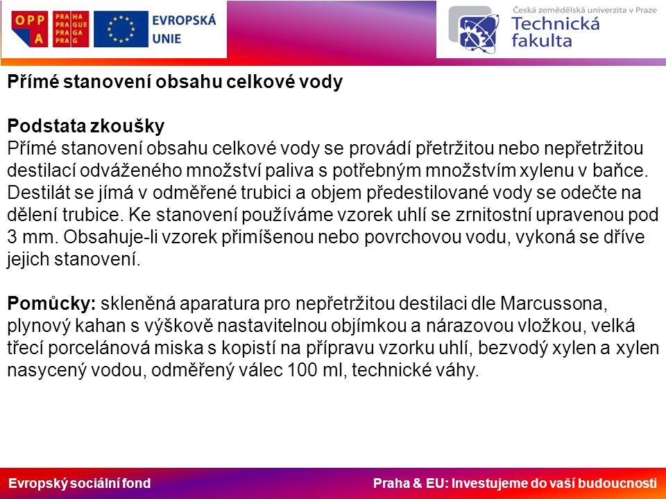 Evropský sociální fond Praha & EU: Investujeme do vaší budoucnosti Přímé stanovení obsahu celkové vody Podstata zkoušky Přímé stanovení obsahu celkové vody se provádí přetržitou nebo nepřetržitou destilací odváženého množství paliva s potřebným množstvím xylenu v baňce.