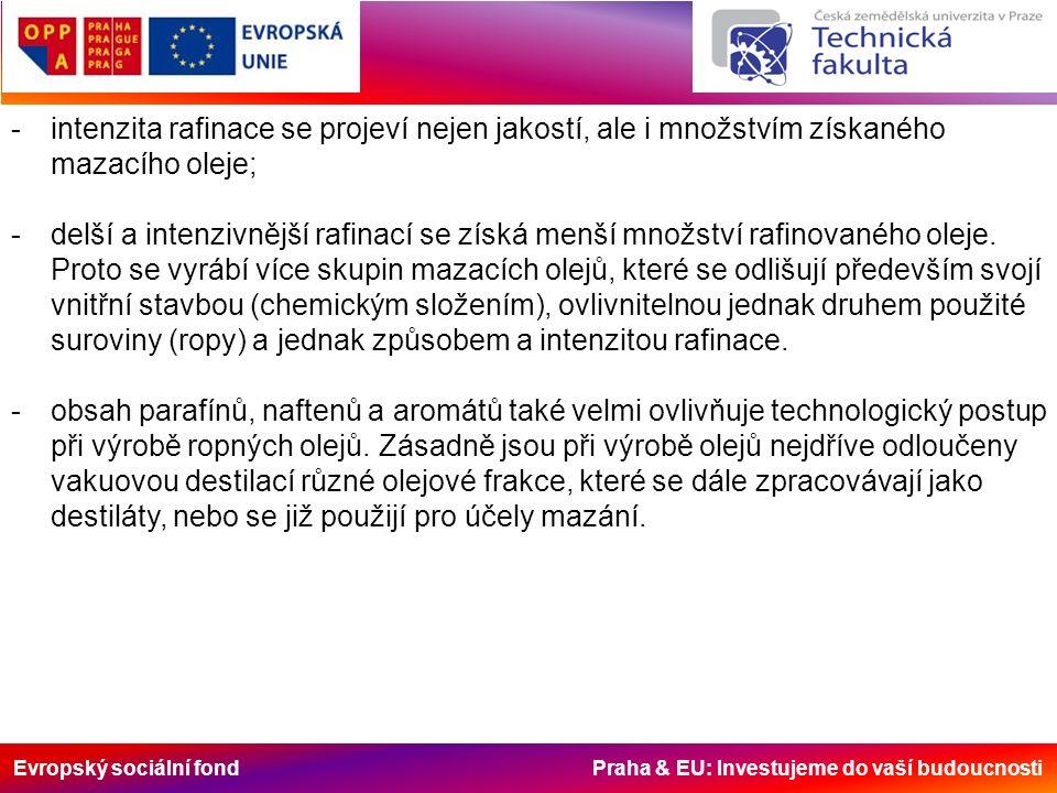 Evropský sociální fond Praha & EU: Investujeme do vaší budoucnosti -intenzita rafinace se projeví nejen jakostí, ale i množstvím získaného mazacího oleje; -delší a intenzivnější rafinací se získá menší množství rafinovaného oleje.