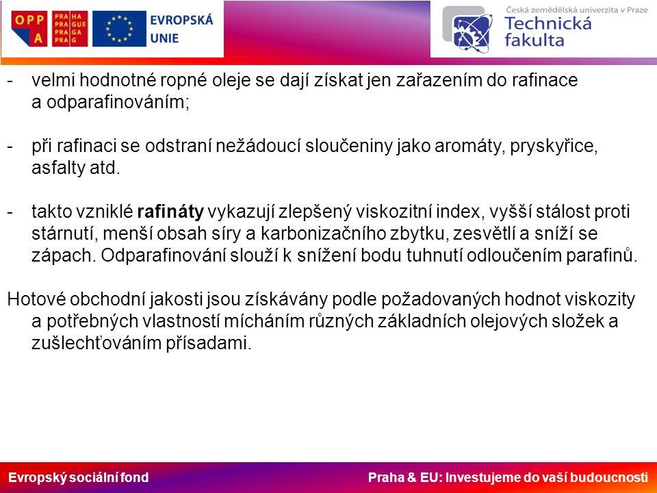 Evropský sociální fond Praha & EU: Investujeme do vaší budoucnosti -velmi hodnotné ropné oleje se dají získat jen zařazením do rafinace a odparafinováním; -při rafinaci se odstraní nežádoucí sloučeniny jako aromáty, pryskyřice, asfalty atd.