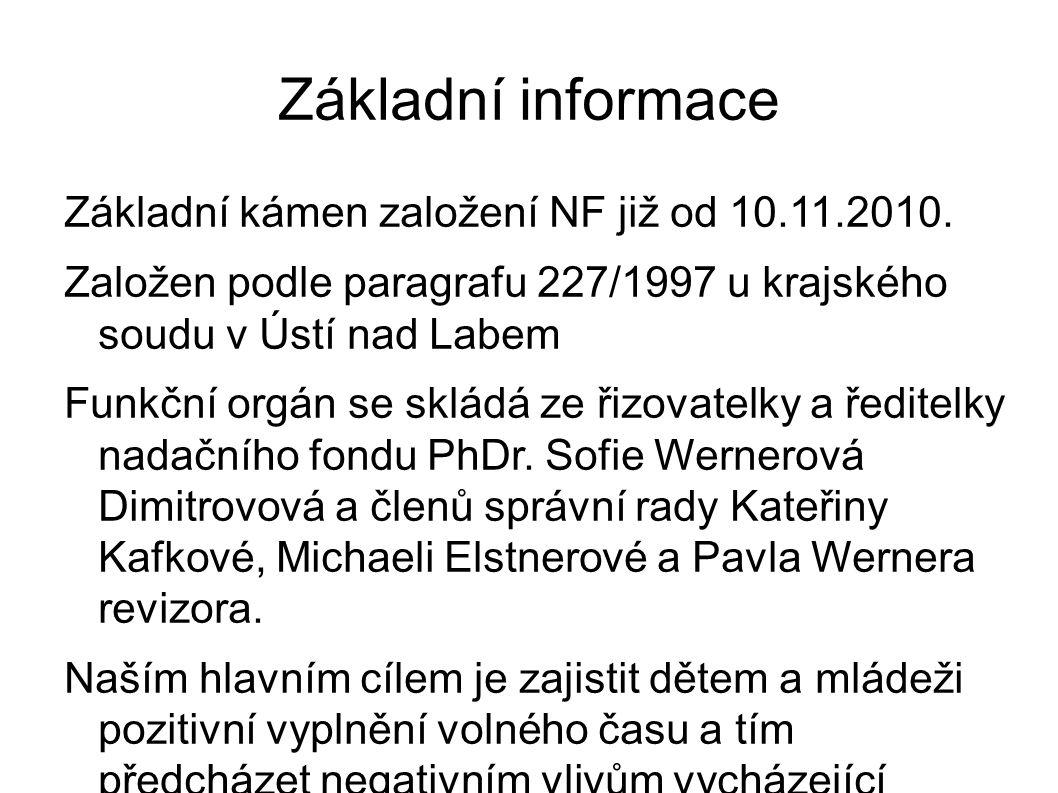 Základní informace Základní kámen založení NF již od 10.11.2010.